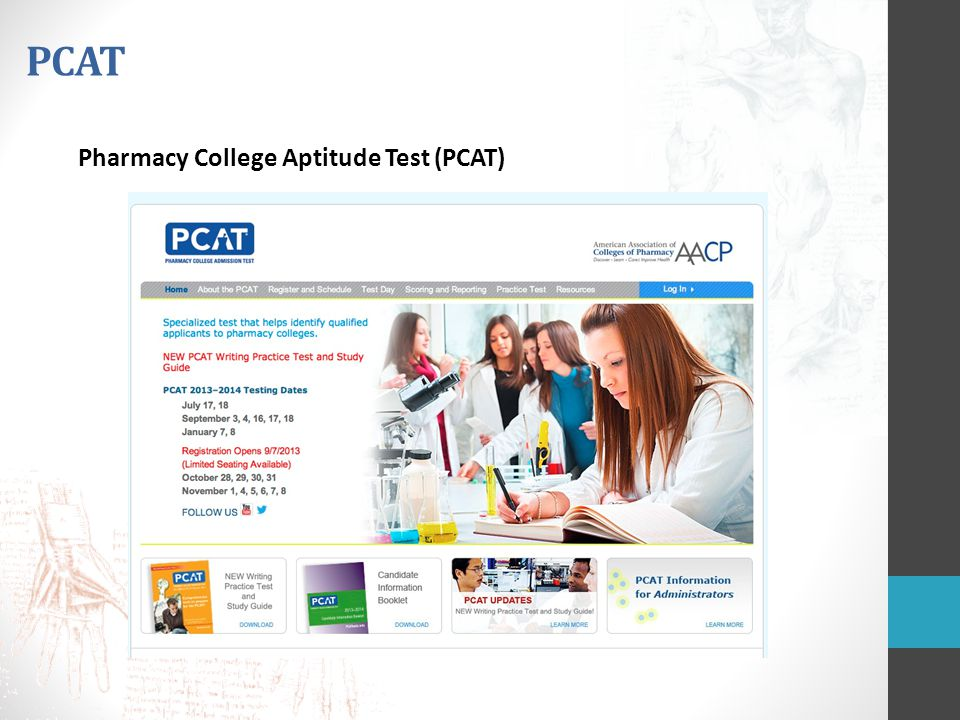 PCAT Pharmacy College Aptitude Test (PCAT)