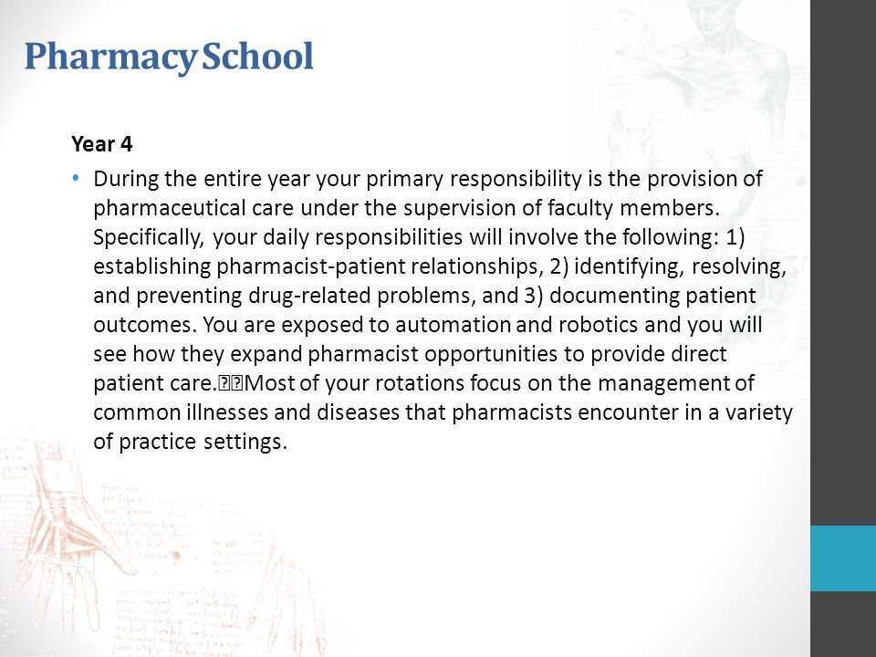 Pharmacy School Year 4.