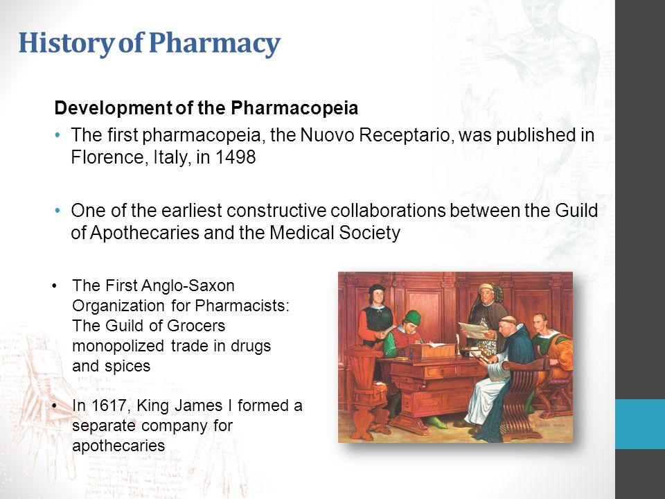 History of Pharmacy Development of the Pharmacopeia