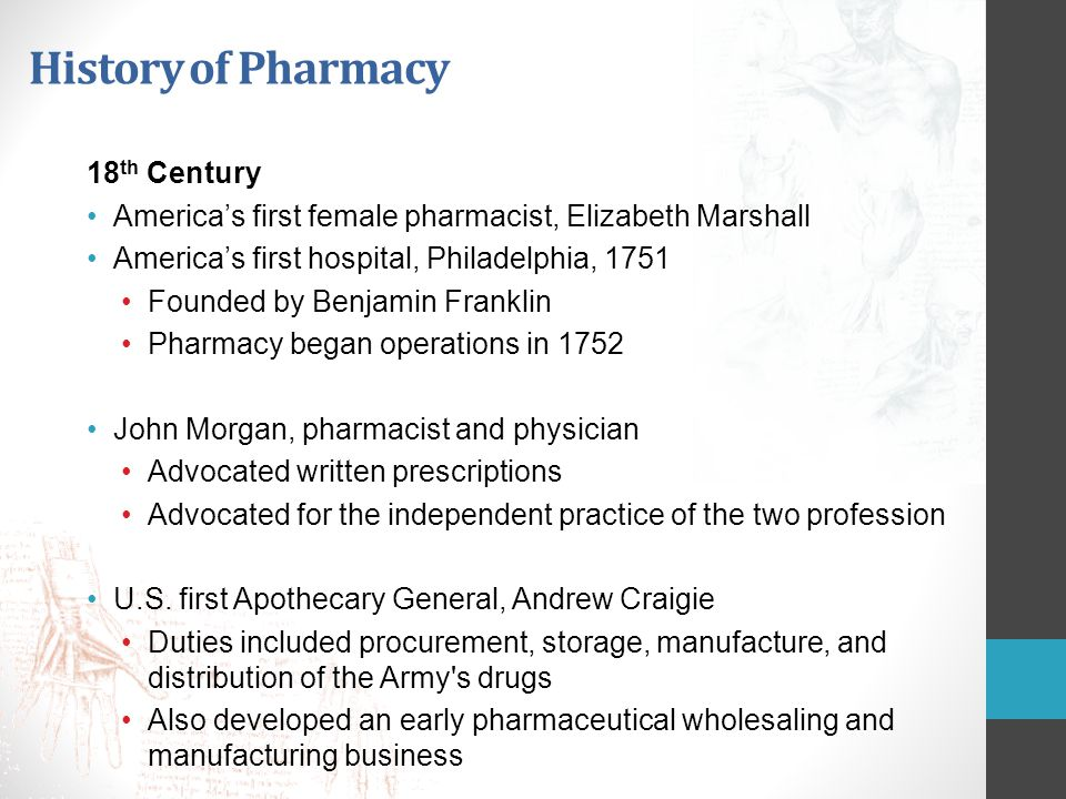 History of Pharmacy 18th Century