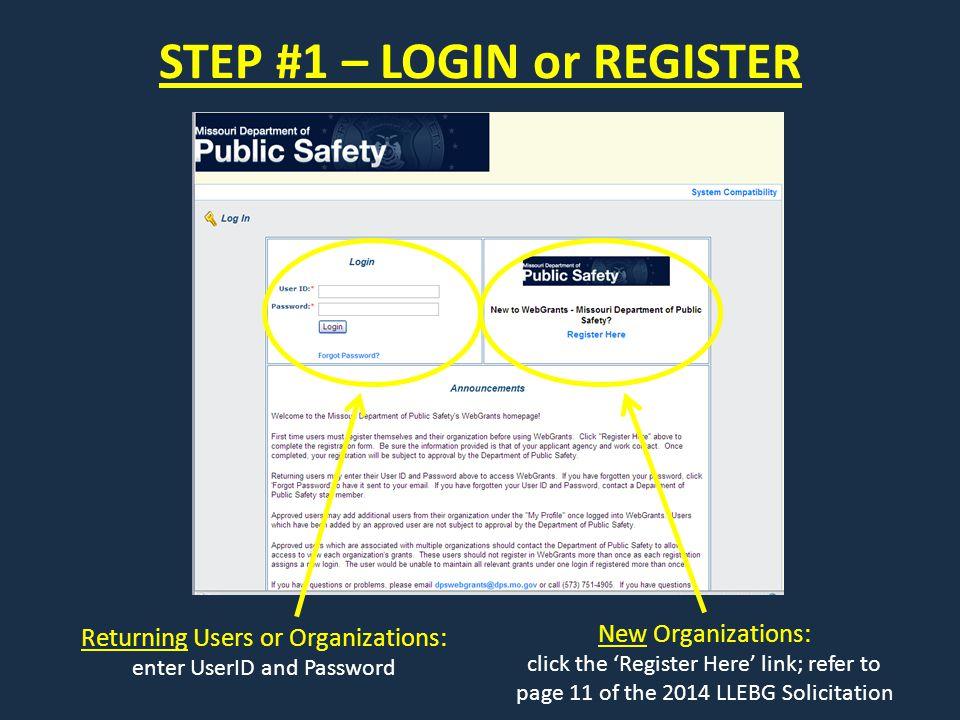 STEP #1 – LOGIN or REGISTER