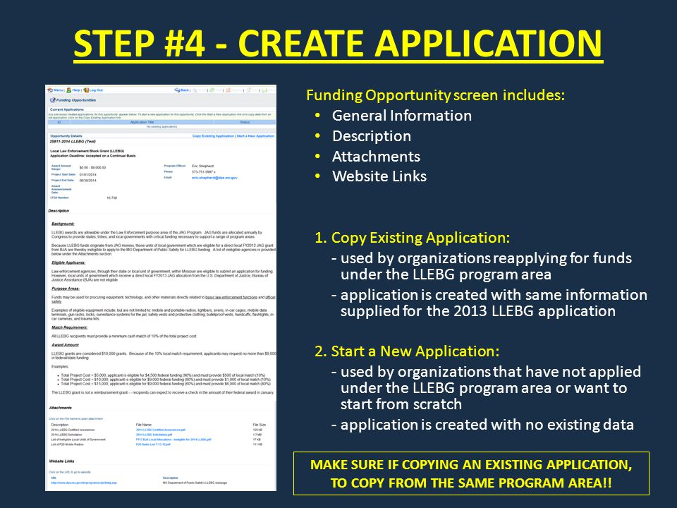 STEP #4 - CREATE APPLICATION