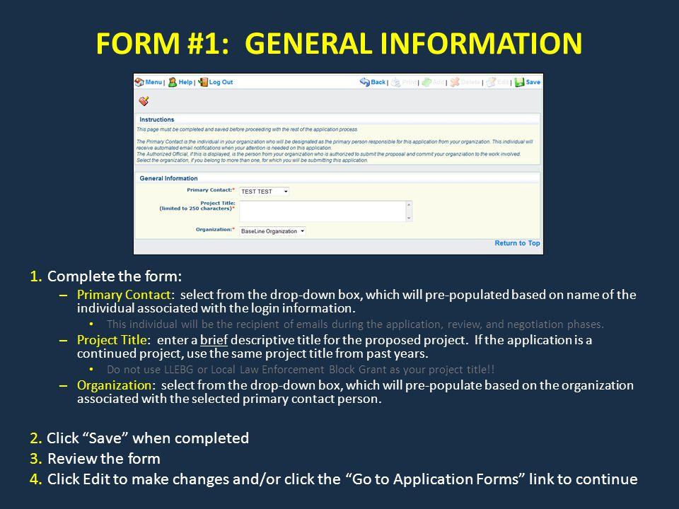 FORM #1: GENERAL INFORMATION