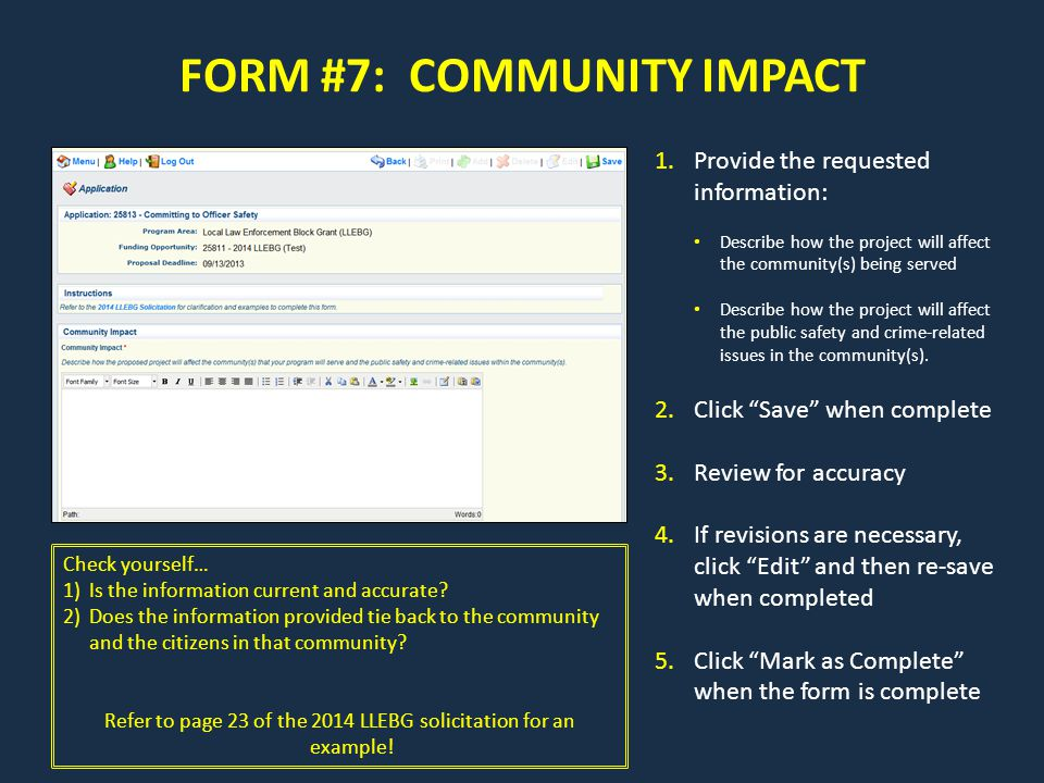 FORM #7: COMMUNITY IMPACT