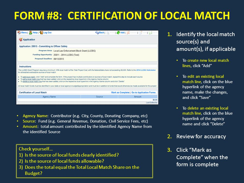 FORM #8: CERTIFICATION OF LOCAL MATCH