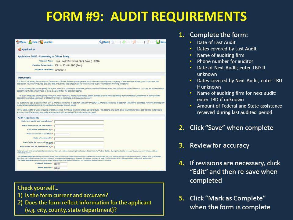 FORM #9: AUDIT REQUIREMENTS