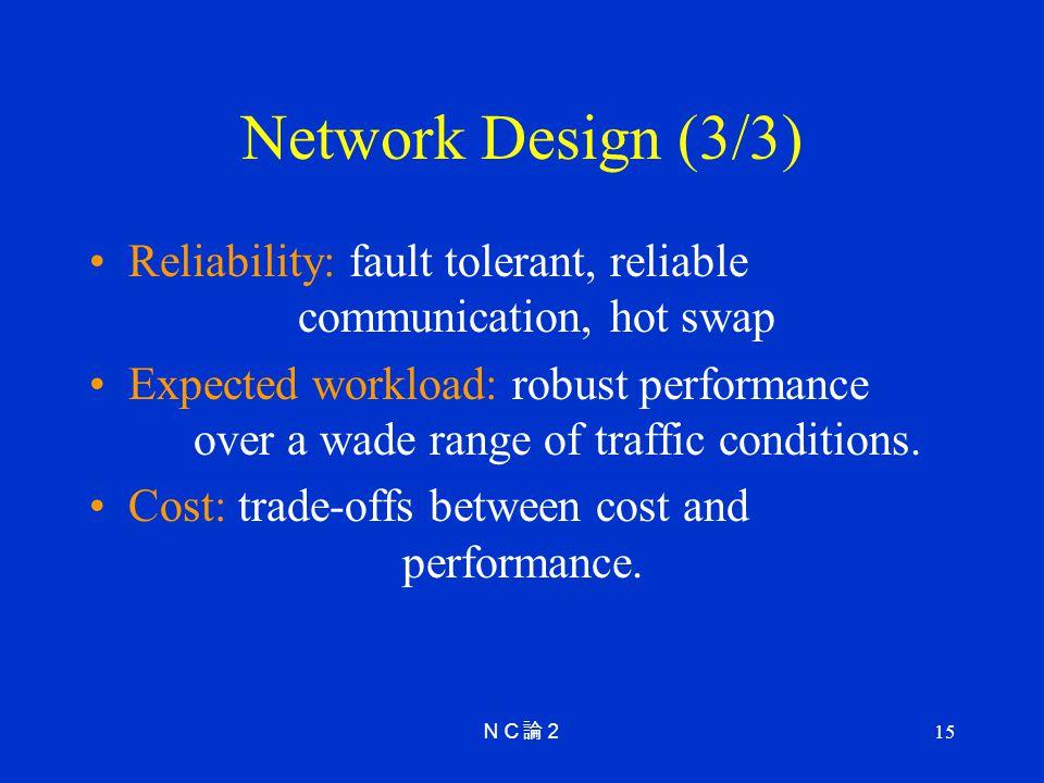 Network Design (3/3) Reliability: fault tolerant, reliable communication, hot swap.