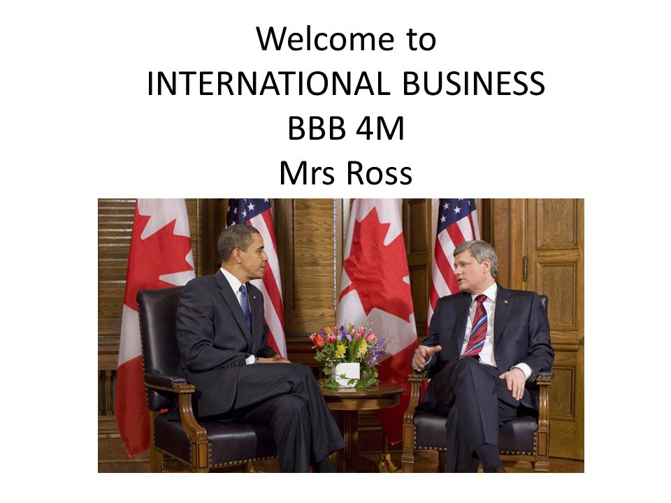 Welcome to INTERNATIONAL BUSINESS BBB 4M Mrs Ross