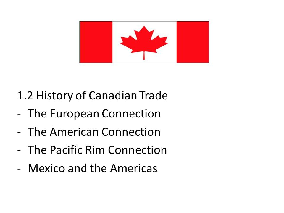 1.2 History of Canadian Trade