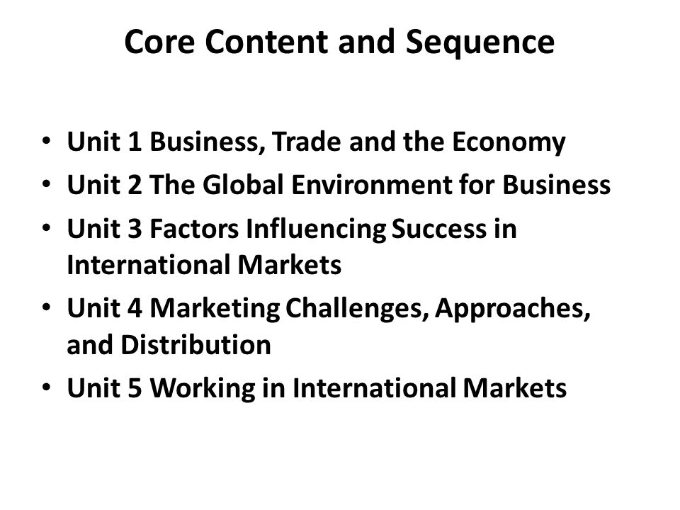 Core Content and Sequence