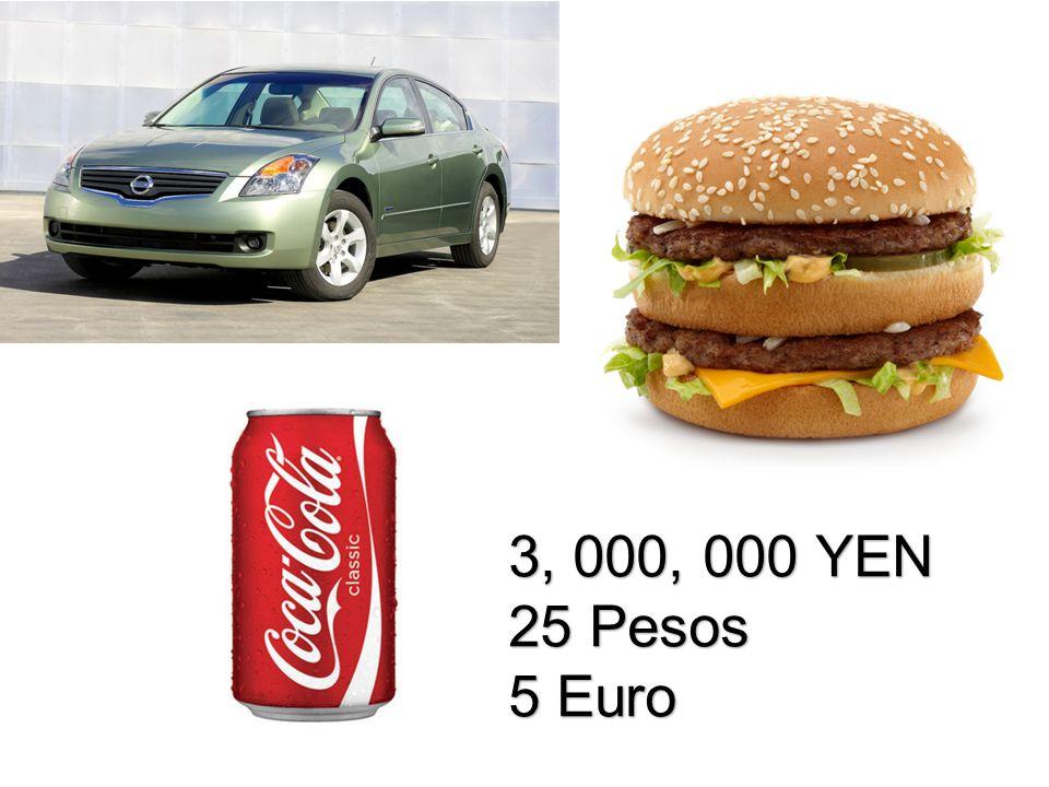 3, 000, 000 YEN 25 Pesos 5 Euro