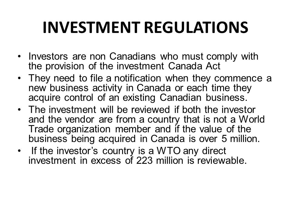 INVESTMENT REGULATIONS