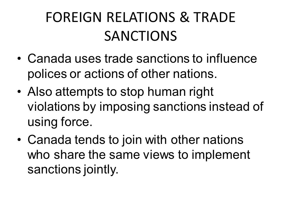 FOREIGN RELATIONS & TRADE SANCTIONS