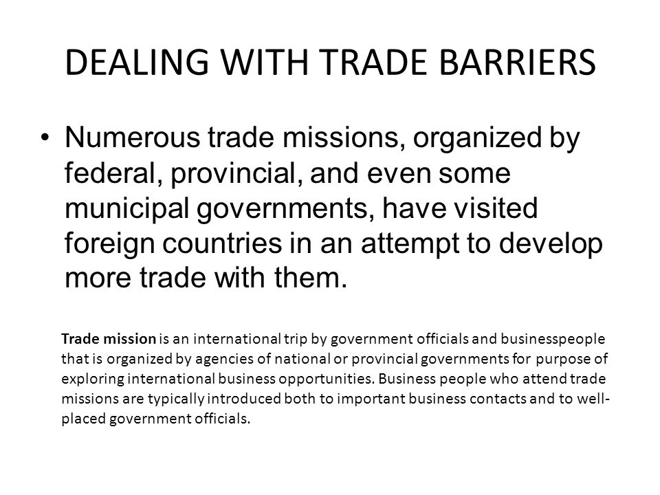 DEALING WITH TRADE BARRIERS