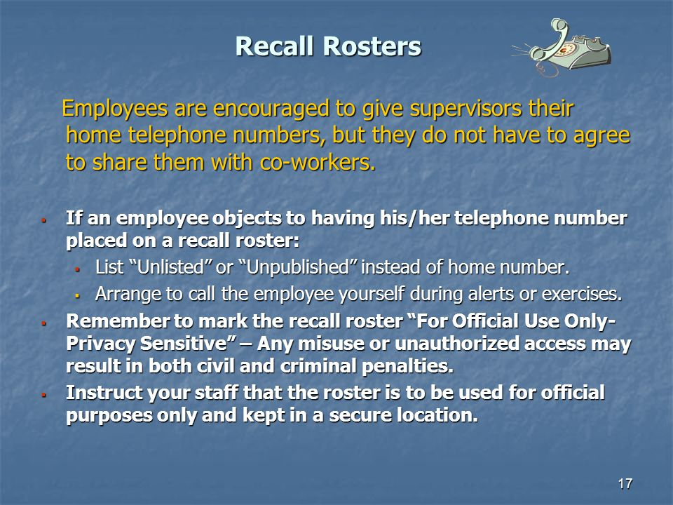 Recall Rosters