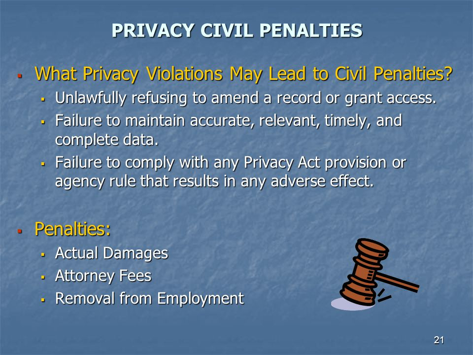 PRIVACY CIVIL PENALTIES