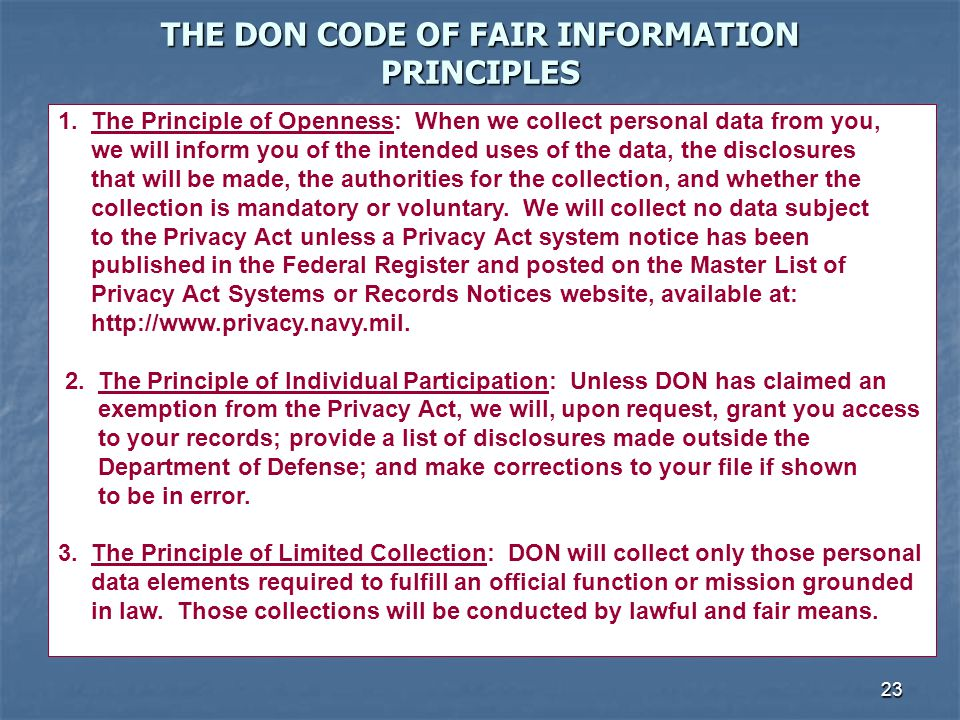 THE DON CODE OF FAIR INFORMATION PRINCIPLES