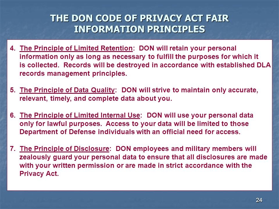 THE DON CODE OF PRIVACY ACT FAIR INFORMATION PRINCIPLES