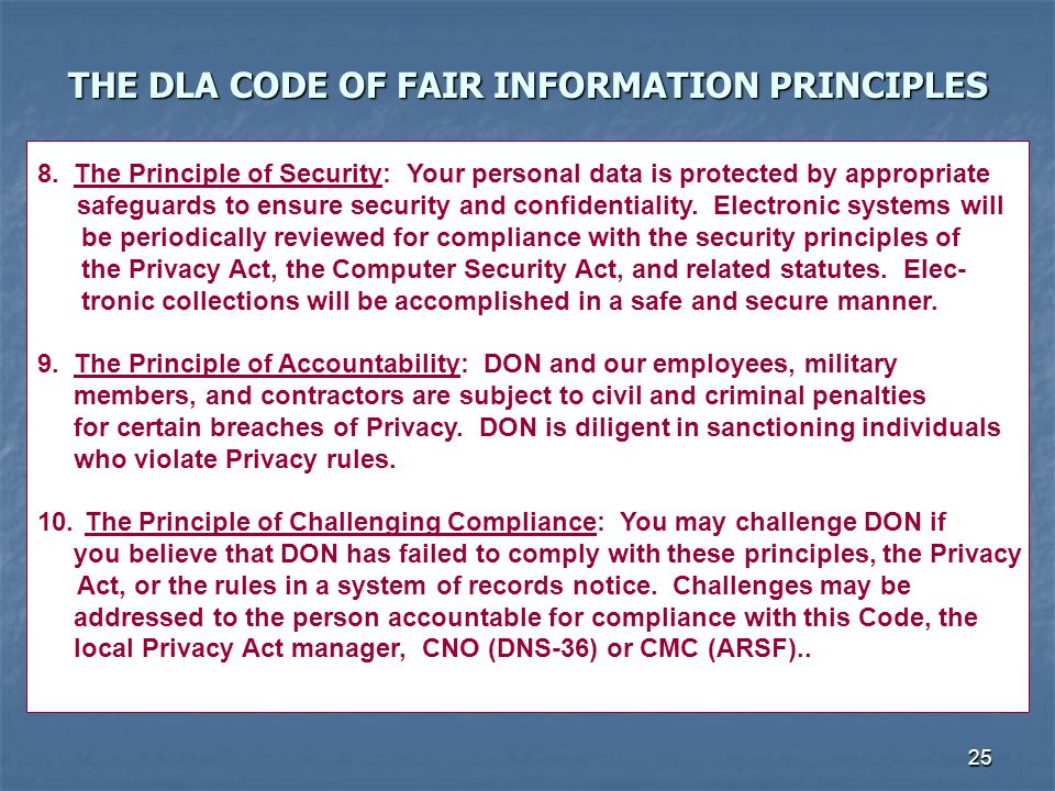 THE DLA CODE OF FAIR INFORMATION PRINCIPLES