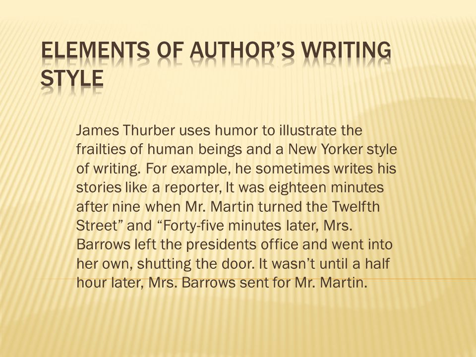 Elements of Author's Writing Style