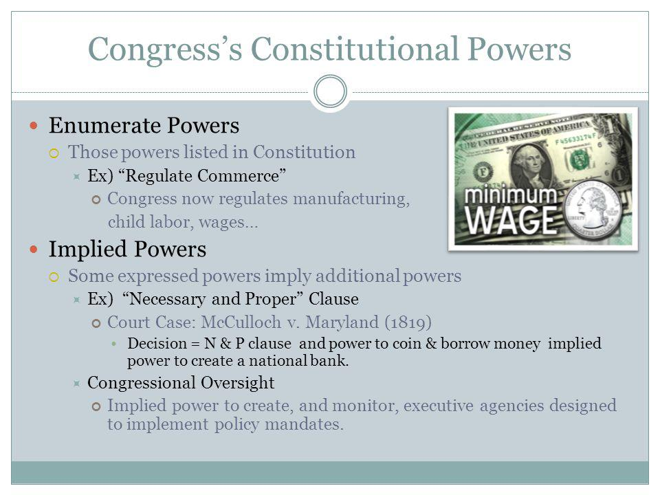 Congress's Constitutional Powers