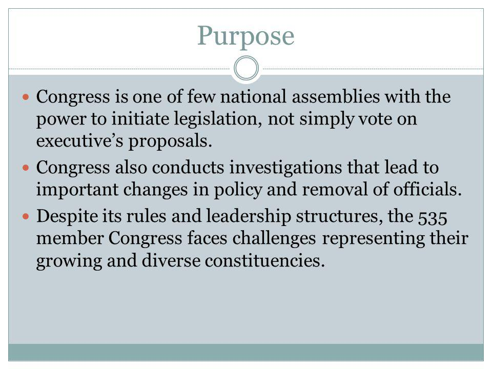 Purpose Congress is one of few national assemblies with the power to initiate legislation, not simply vote on executive's proposals.