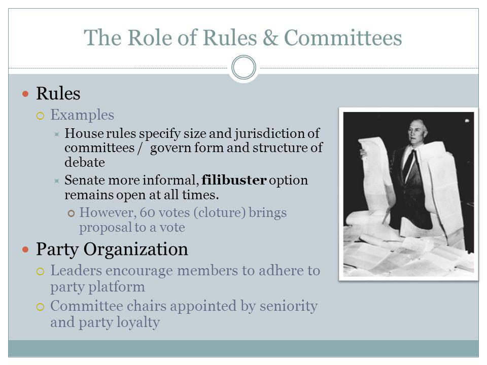 The Role of Rules & Committees