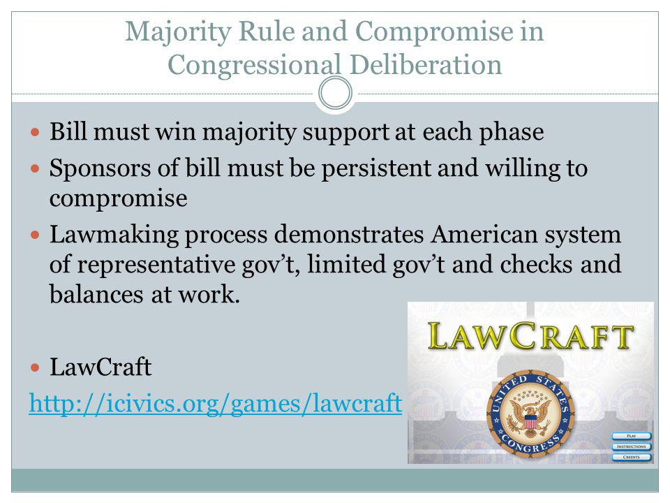 Majority Rule and Compromise in Congressional Deliberation