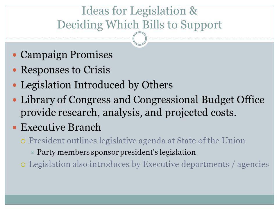 Ideas for Legislation & Deciding Which Bills to Support