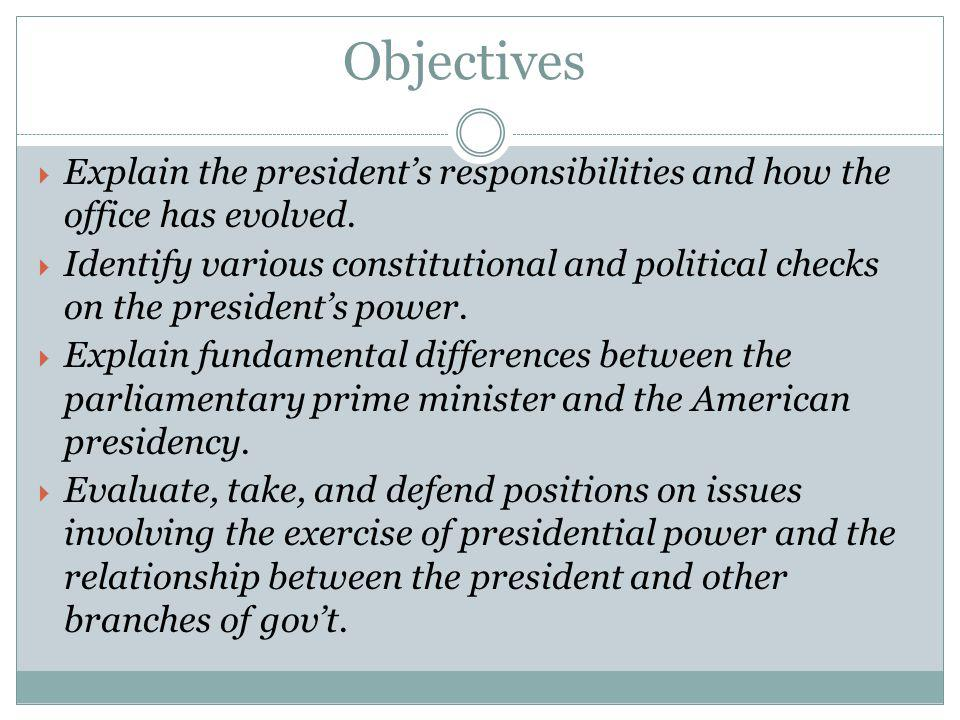 Objectives Explain the president's responsibilities and how the office has evolved.