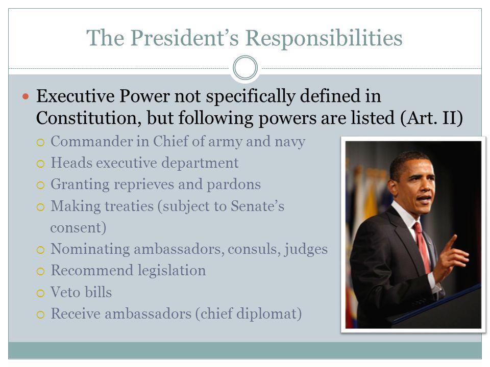 The President's Responsibilities