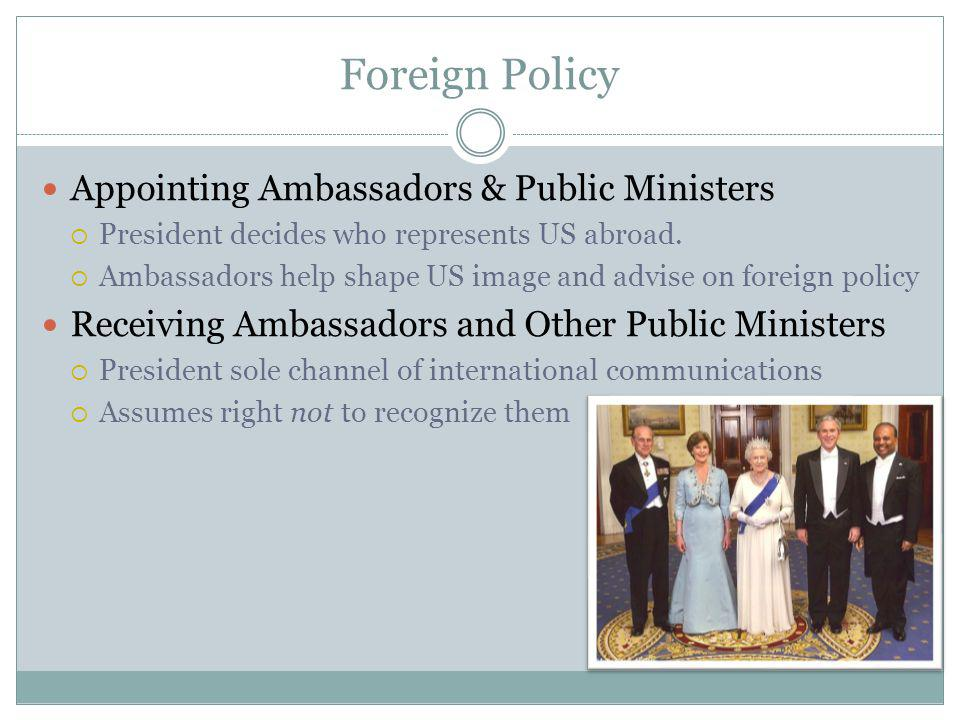 Foreign Policy Appointing Ambassadors & Public Ministers