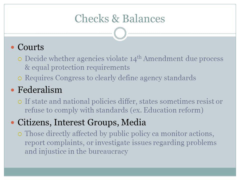 Checks & Balances Courts Federalism Citizens, Interest Groups, Media