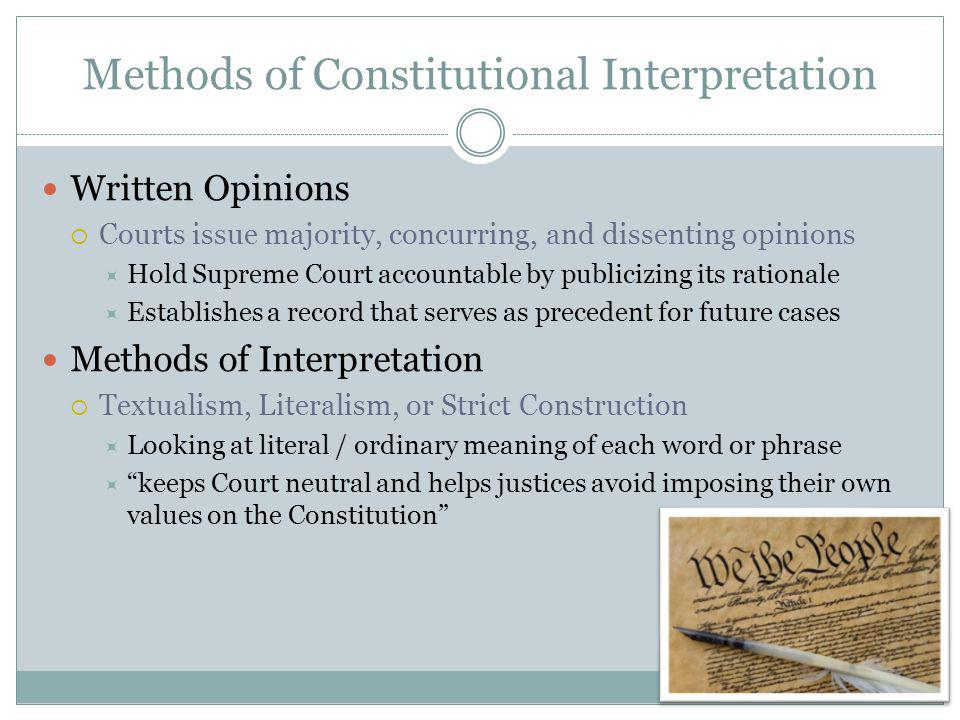 Methods of Constitutional Interpretation