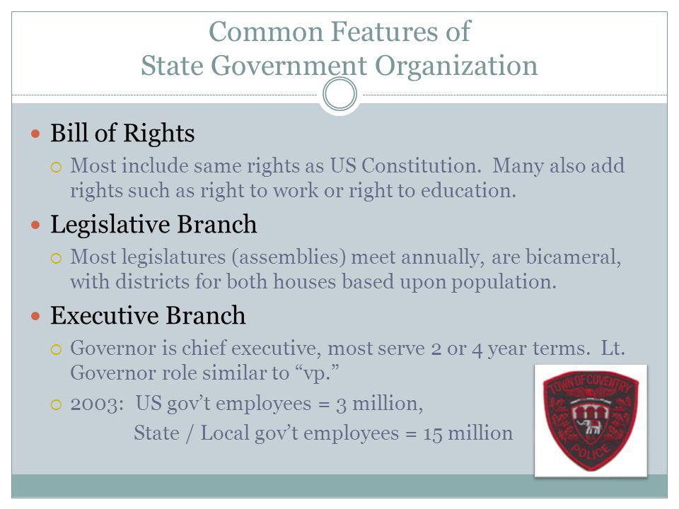 Common Features of State Government Organization