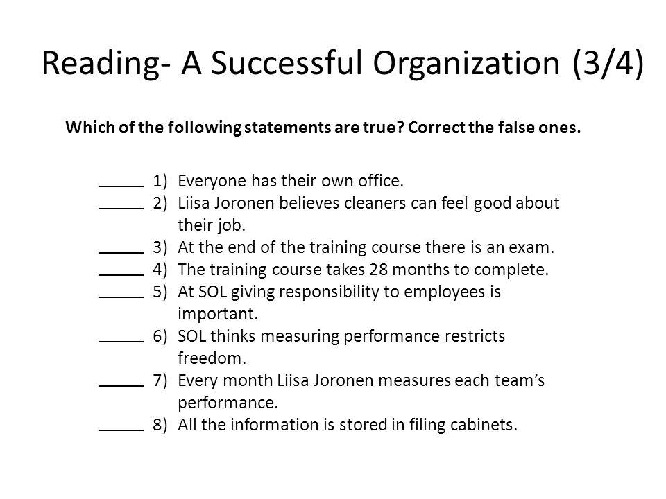 Reading- A Successful Organization (3/4)