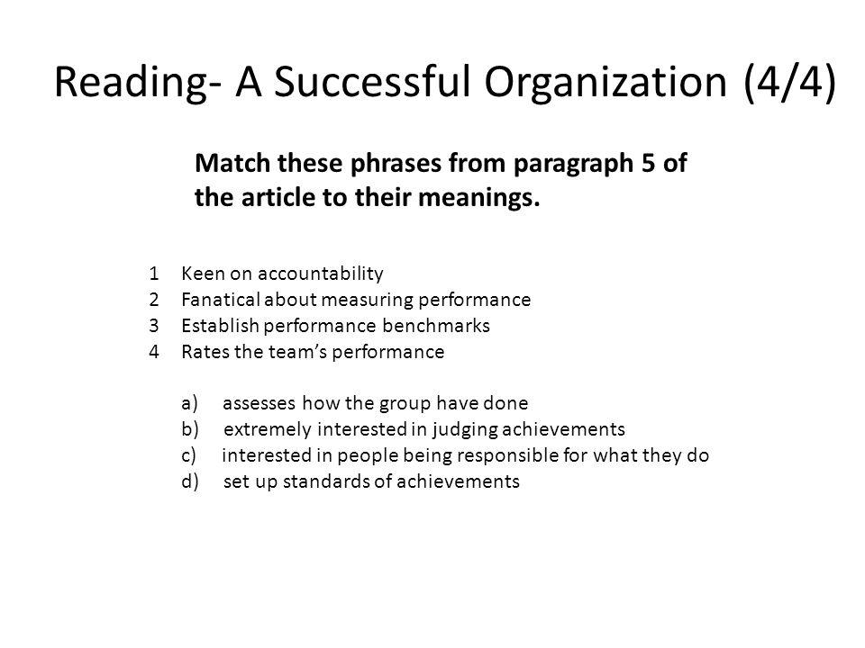 Reading- A Successful Organization (4/4)