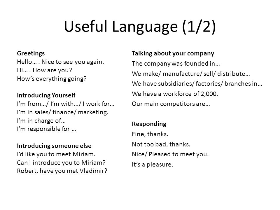 Useful Language (1/2) Talking about your company
