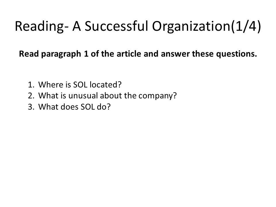 Reading- A Successful Organization(1/4)