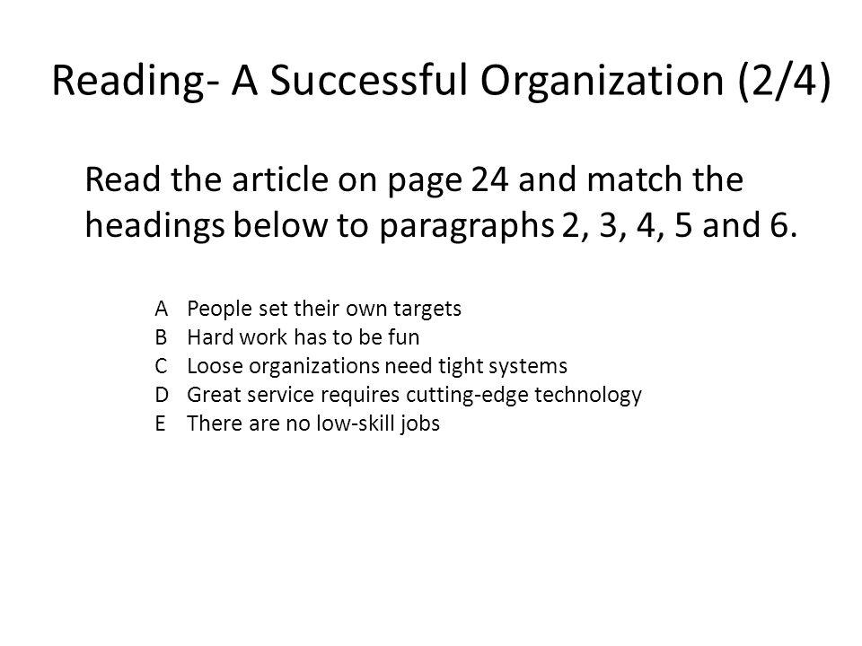 Reading- A Successful Organization (2/4)