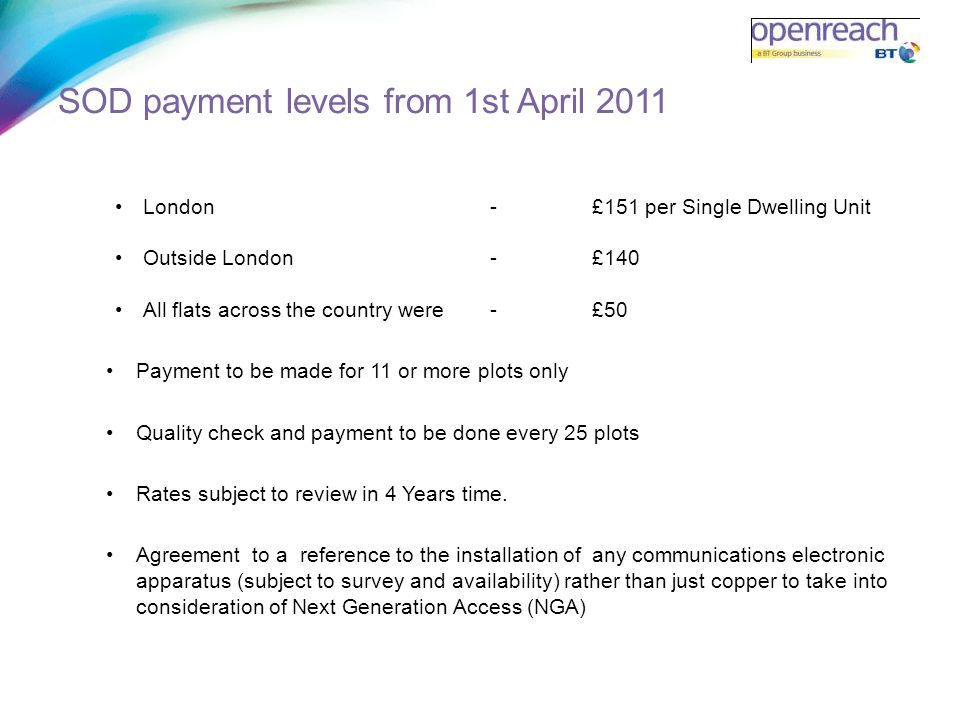 SOD payment levels from 1st April 2011