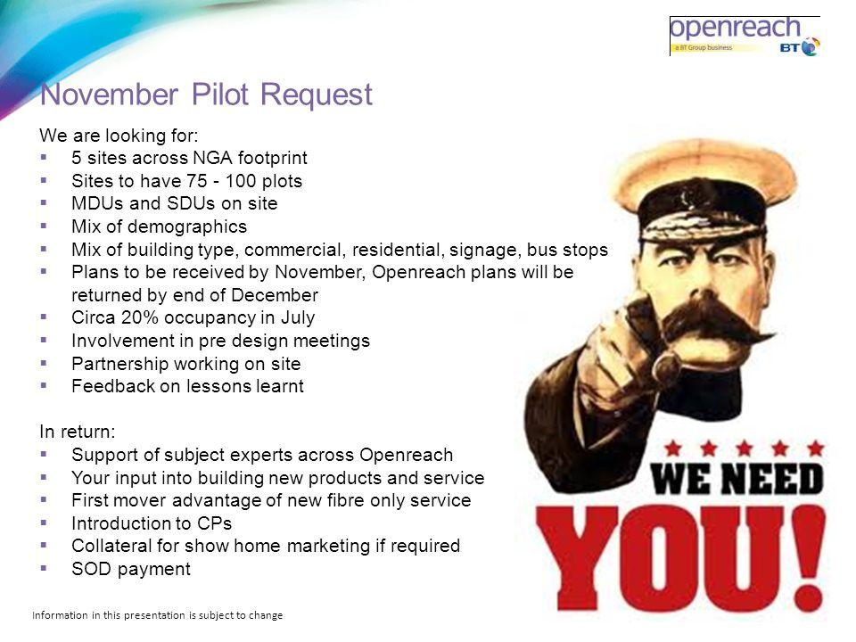 November Pilot Request