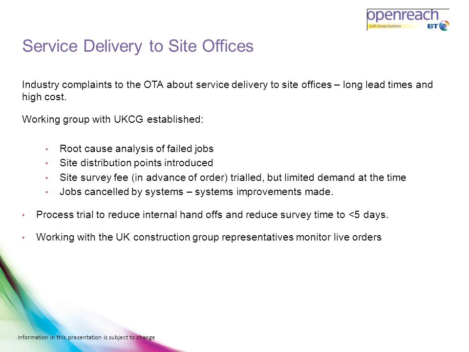Service Delivery to Site Offices