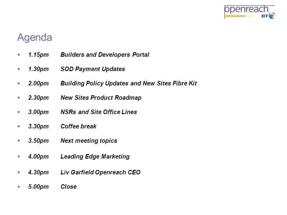 Agenda 1.15pm Builders and Developers Portal