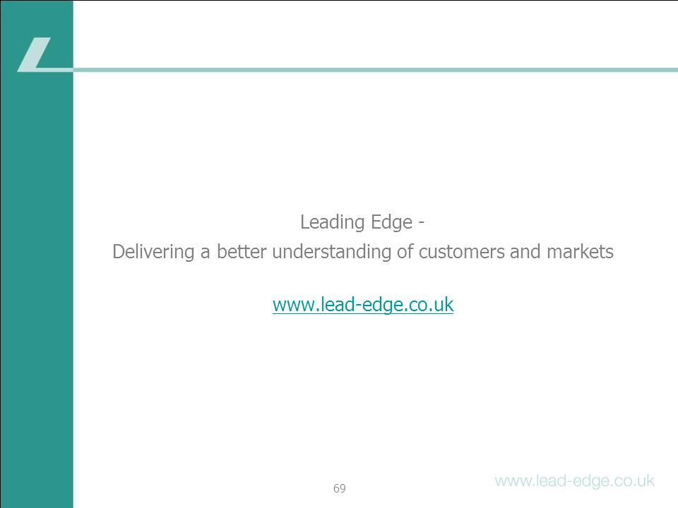 Delivering a better understanding of customers and markets