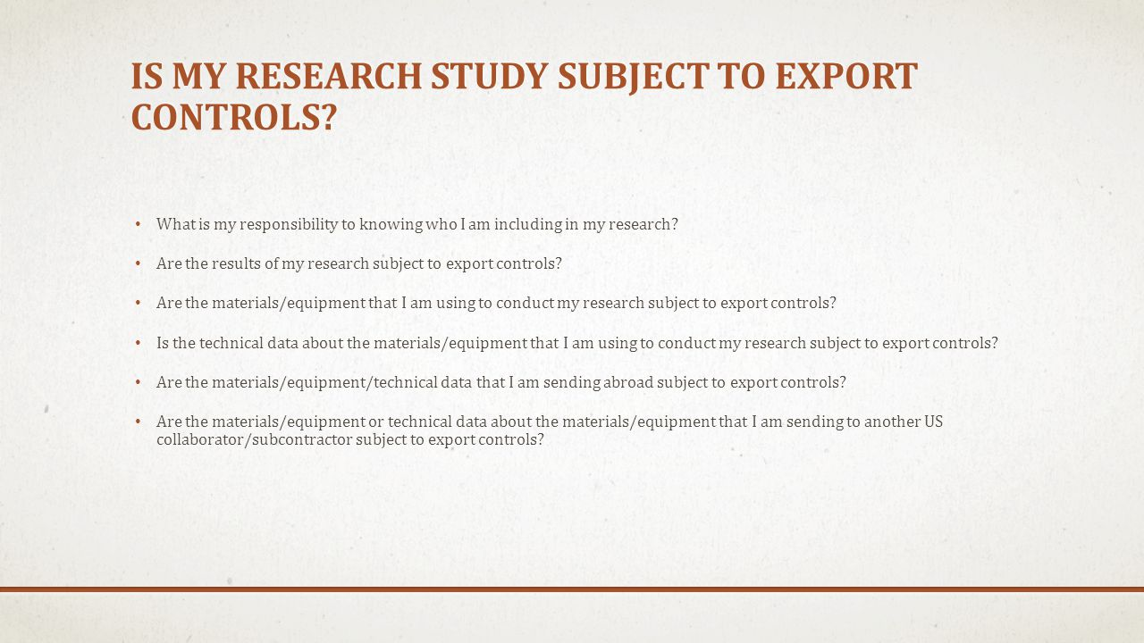 Is my research study subject to export controls