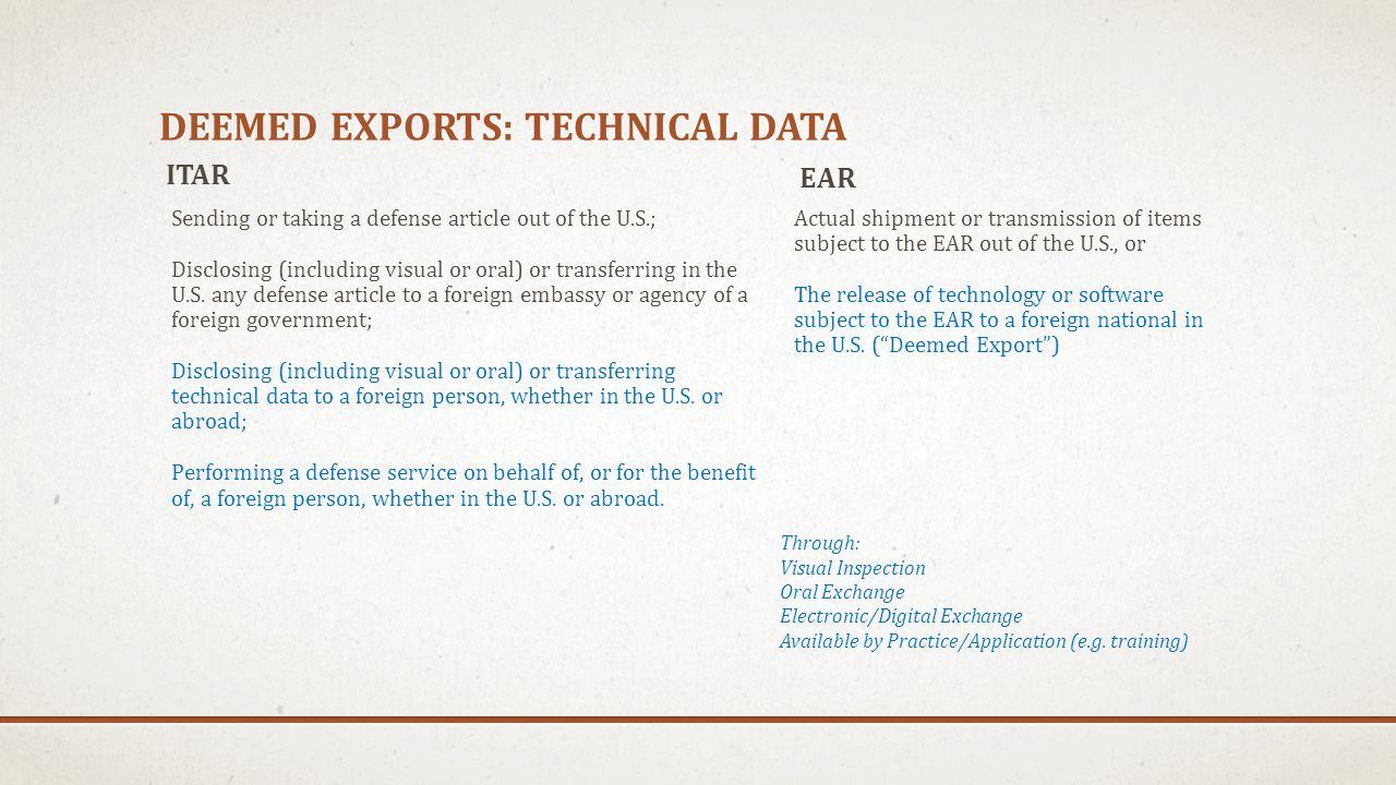 Deemed exports: technical data