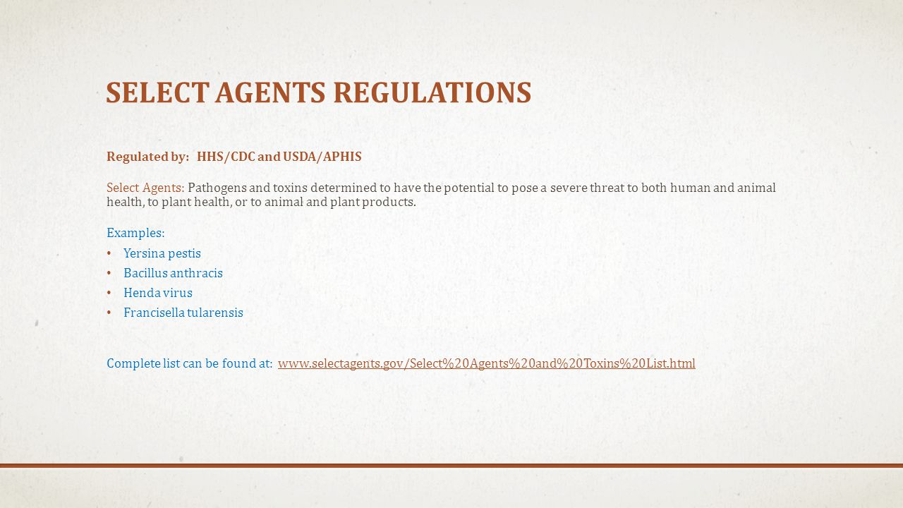 Select agents regulations