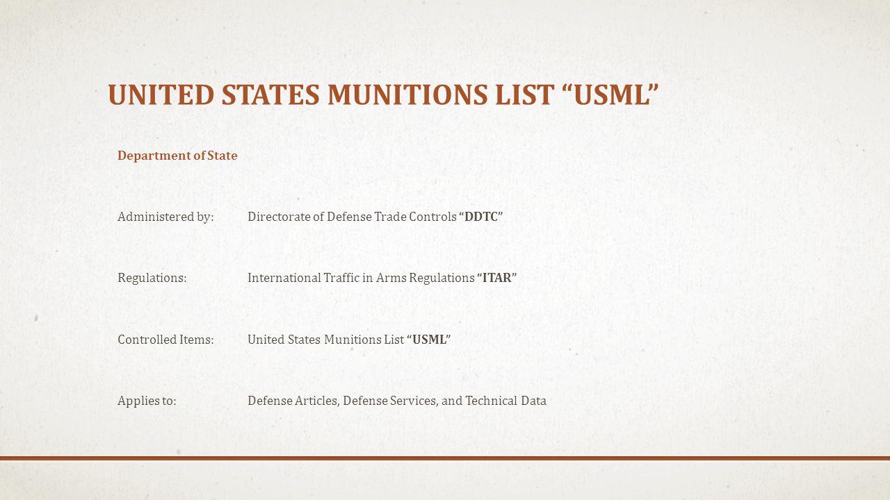United states munitions list USML