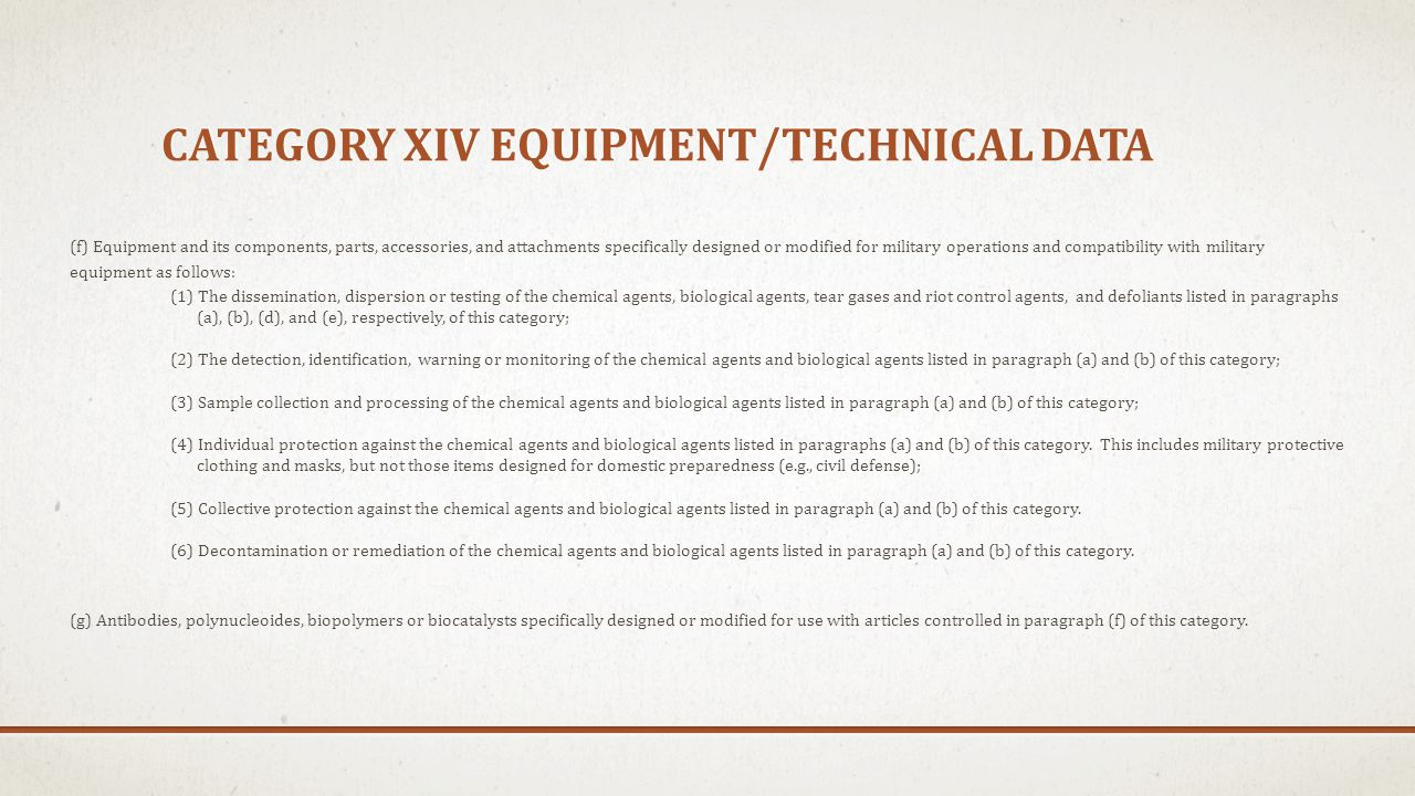 Category xiv equipment/technical data